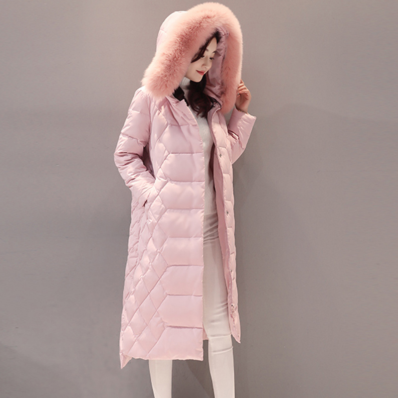 Woman's whinte duck   Down   Jacket Hooded fur collar   Down     coat   Loose In the long paragraph   down   jacket windbreaker outerwear QH0943