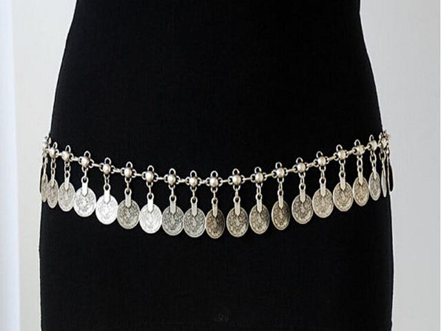 2017 Newest Silver metal Coin Waist Chain Fashion Vintage Tassel Long Coin Waist Chain Belt Ladies Belly Waist Chain Belt