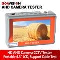 Dos en uno 1080 p 720 p ahd tester cctv cámara de vigilancia de seguridad PROBADOR de 4.3 pulgadas TFT LCD MONITOR en COLOR Con Cable de Red de Prueba