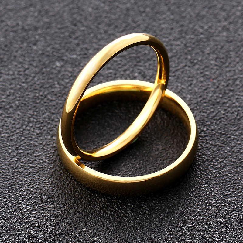 4 ミリメートル 2 ミリメートルゴールドチタン鋼のカップルリング男性と女性
