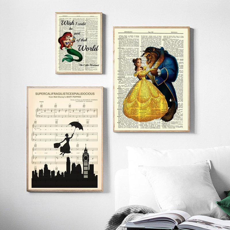 wall art home decor Guest poster disney quote Beauty and the beast print