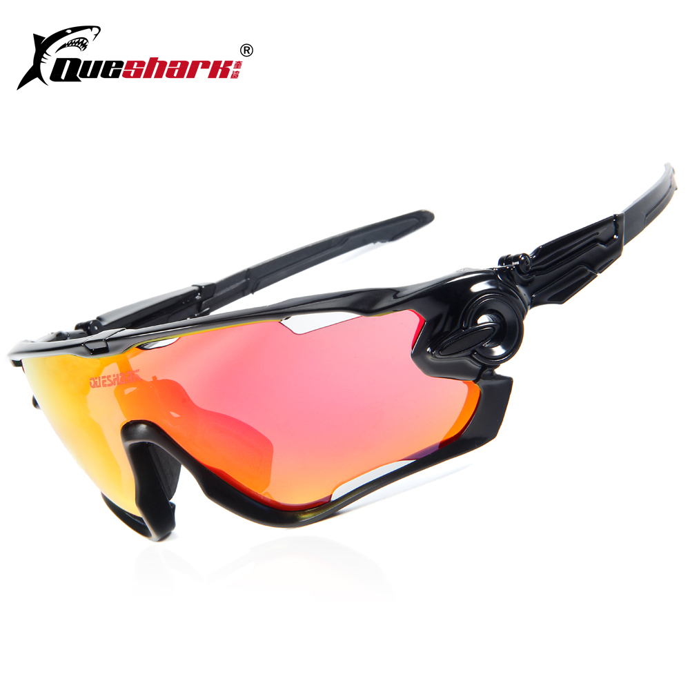 Queshark Brand Tour De France Polarized Cycling Sunglasses Cycling Glasses Bicycle Bike Goggle 3 Pair Lens Full Red cycling eyewear 3 lens gub 4000 men polarized cycling glasses outdoor sports bicycle glasses bike sunglasses tr90 goggles