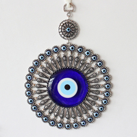 Turkish Evil Blue Eye Glass L28CM Flower Charm Wall Hanging Amulet Nazar Boncuk Home Decoration Office