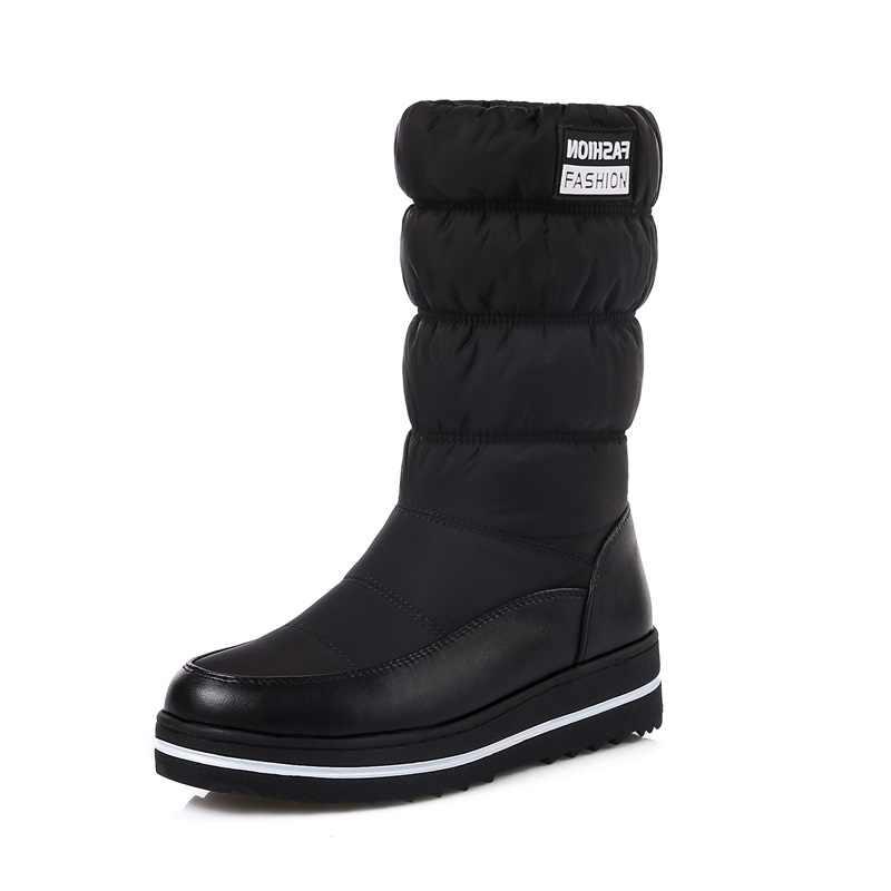 MEMUNIA/женские зимние сапоги; обувь из лакированной кожи на платформе; Высококачественная обувь с кисточками; зимние сапоги до середины икры из хлопка; Размеры 35-44