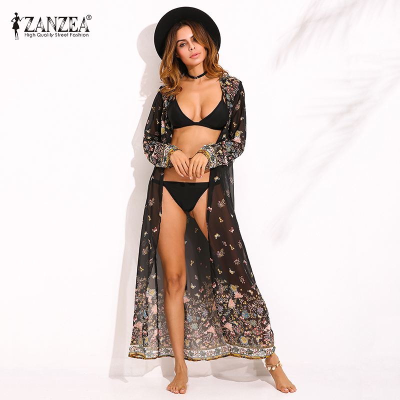 ZANZEA 2018 Boho Womens Summer Floral Kimono Beach sunscreen Maxi Long Tops Cardigan Basic Coats Jacket