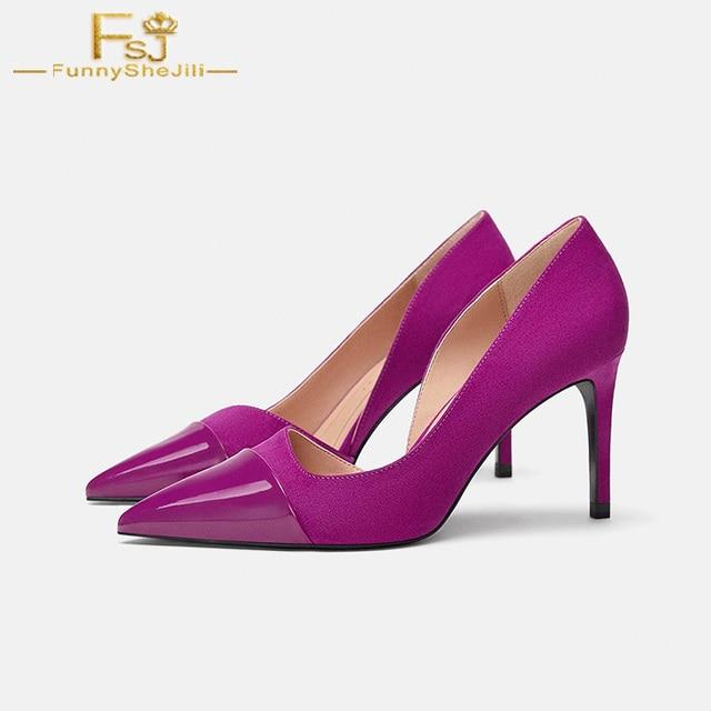269dfd065525 FSJ Fashion Dark Purple Slip On Pumps Pointed Toe High Thin Heels Woman  Pumps Dress Casual Woman Shoes Zapato Mujer Size 4-16