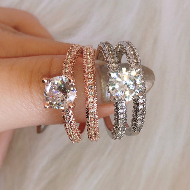ZN Wedding Engagement Rings for Women  Rose Gold White gold Women Fashion