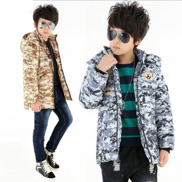Kid cotton coat for Winter thicking warm jacket boys outwear camouflage jacket boys winter outwear kids warmly clothes for 7-15Y