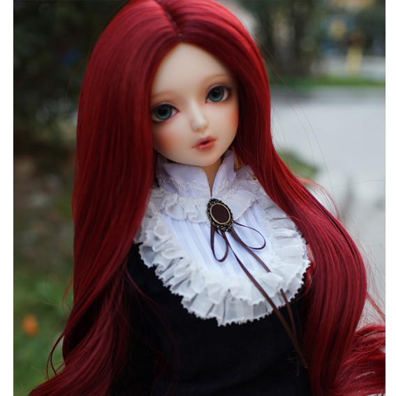 Big Wave Volume Bjd Night Girl Wig Bjd Doll High Temperature Silk Red Wine Color Doll Hair for 1/3 BJD DIY Accessory