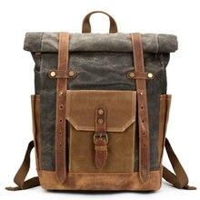 Brand Vintage Laptop Backpack Men Canvas Leather College Weekend School Bags Casual Bookbag Mens Waterproof Travel Bag Rucksack