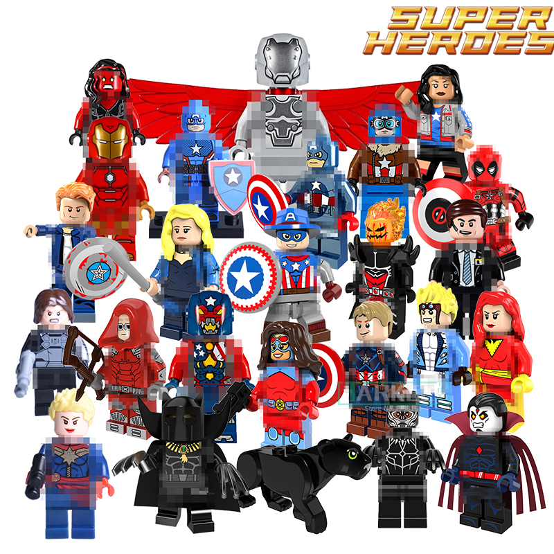 Single Sale Building Blocks Marvel Super Heroes Bricks Black Panthers Captain America Figures DIY Kids Toys Children Model Gift lord of the rings pg518 witch king of angmar the black gate diy figures building blocks bricks kids diy toys hobbies single sale