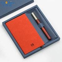 Creative Wooden Brass Signature Pen Portable Notepad High End Business Men Ballpoint Pen Gifts Students Pencil