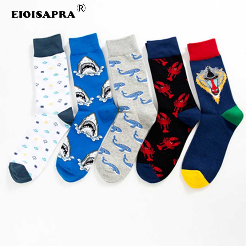 Underwear & Sleepwears Beautiful Peonfly New Print Animals Plant Cute Cartoon Panda Octopus Whale Cactus Pattern Personality Pirate Flag Fashion Men Cotton Socks