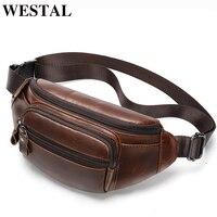 WESTAL men's fanny pack genuine leather waist bag belt summer messenger chest bags men's designer phone pouch leather waist bag