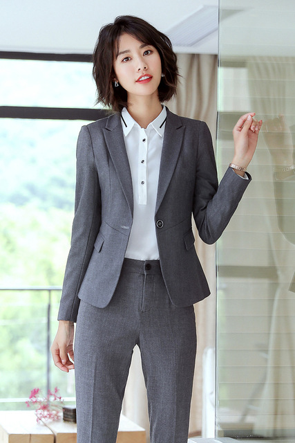 8d86db5dd2b75 2018 Winter Formal Elegant Gray Blue Women's Blazers Trouser Suit set  office Ladies pants and blazer Jacket 2 Piece plus size