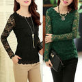 Hot Women's Fashion Lace Long Sleeve Slim fit Casual Blouse Tops