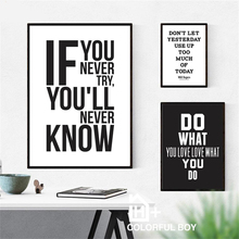 цена на Quotes Letter Nordic Poster Wall Art Canvas Painting Black And White Posters And Prints Wall Pictures For Living Room Unframed