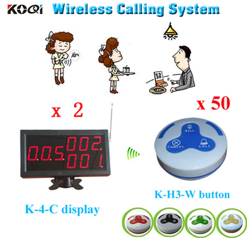 Food court pager system wireless calling system display receiver K-4-C long range call button wireless restaurant table buzzer