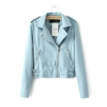 Waistband Blue Leather Jackets Women Adjustable Waist Basic Coats Winter Trench Coat Chaquetas de cuero mujer