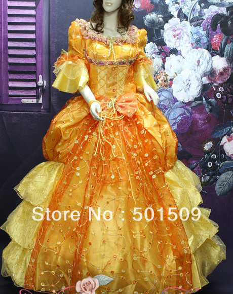 golden medieval Renaissance Gown princess dress full sequins embroidery Victorian Marie civil war Colonial Belle Ball