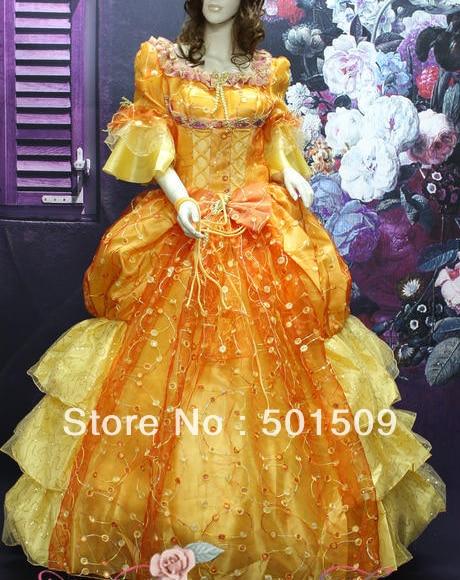 golden medieval Renaissance Gown princess dress full sequins embroidery Victorian/Marie/civil war/Colonial Belle Ball dress