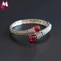 100% Real Sterling Silver Bracelets & Bangle For Women Vintage Elegant Red Jade Bangle Female Gemstone Silver 925 Jewelry SB60