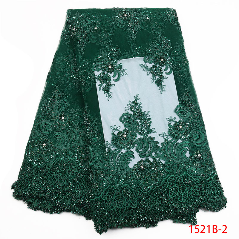 Latest Nigerian Lace Fabric High Quality African Lace Material With Beaded Embroidery African Guipure Lace For Wedding XZ1521b 1