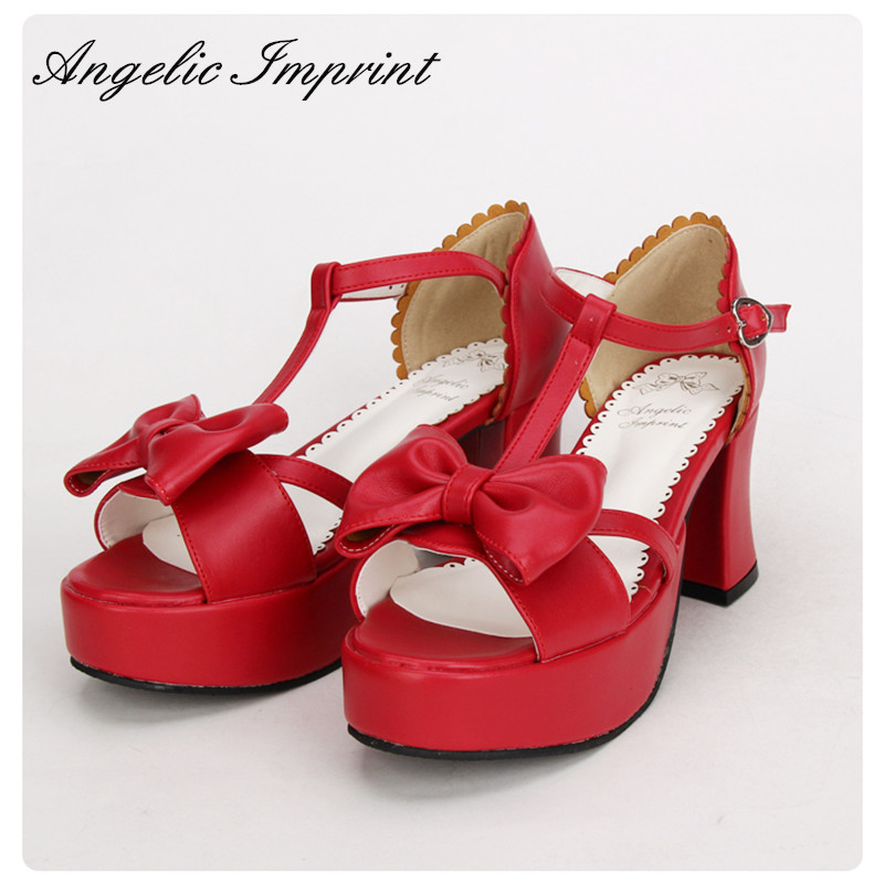 2016 Summer New Arrivals T-Strap Sweet Bowknot Platform Chunky Heel Lolita Sandals RED new arrivals pale pink shiny leather kawaii rabbit ankle strap sweet lolita shoes 5 5cm heel pumps