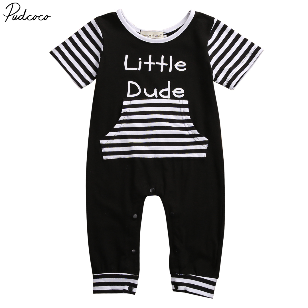 Emmababy Newborn Baby Boys Kids Short Sleeve Black Colors Summer   Romper   Outfit Cotton Clothes