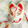Full Face Hand-Painted Japanese Fox Mask 3 Eyebrows Pattern Cosplay Masquerade for Party Carnival Halloween