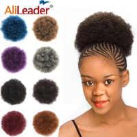 Alileader 1 pc afro-américaine Afro crépus queue de cheval court Wrap cordon Afro bouffée pour les femmes noires Chignon synthétique cheveux bouclés