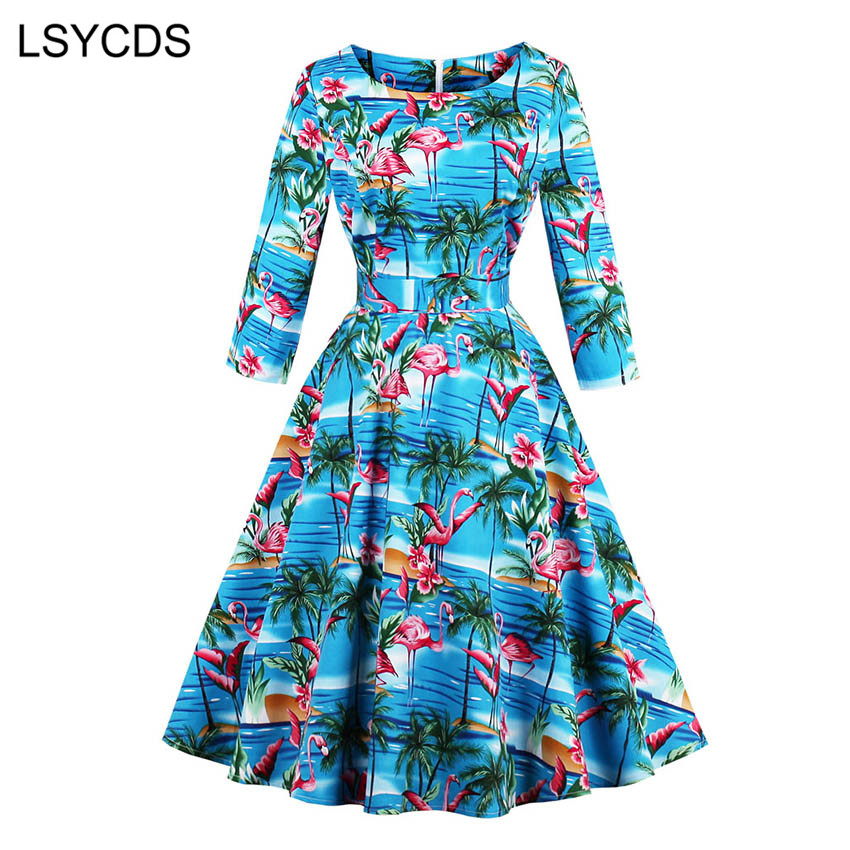 LSYCDS Elegant BIue Print Dresses O Neck Mid-Calf Fit and Flare Retro Casual Party Rockabilly 50s 60s Vintage Women Clothing