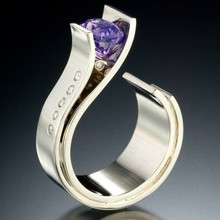 Cute Male Female Small Purple Stone Ring Luxury Silver Color Wedding R