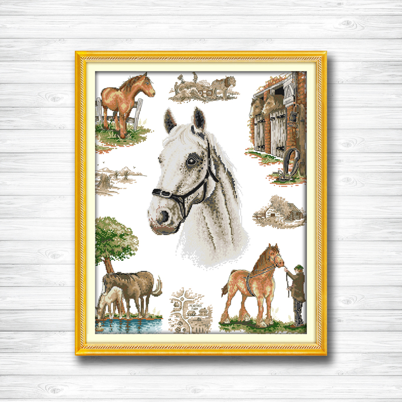The home of horse crafts home decor paintings counted print on canvas DMC 11CT 14CT kits Cross Stitch embroidery needlework Sets