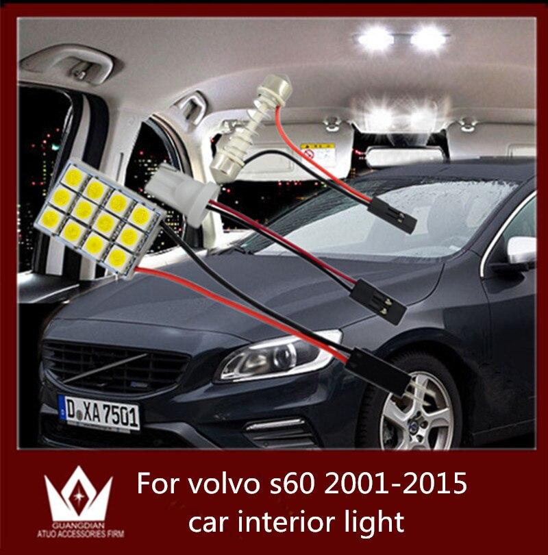 Guang Dian car led light interior light dome vanity light glove step trunk cargo lamp kit T10 festoon for vol-vo s60 2001-2015 guang dian car interior lamp roof bulb