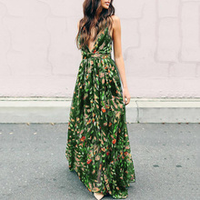 Women Maxi Dress Summer Sexy Long Dresses 2019 V-Neck Sundress Trips Strap Floral Print Backless Fashion Beach To Floor
