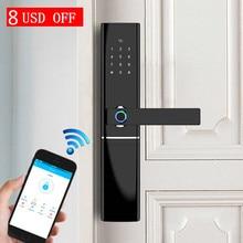 Умный дверной замок отпечатков пальцев Безопасность Интеллектуальная биометрический замок электронный дверной замок с Wi-Fi с Bluetooth APP Unlock