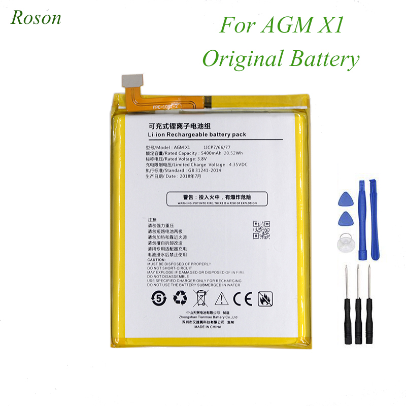 Roson For AGM X1 Original Battery 5400mAh 100% New Replacement Accessory Accumulators For AGM X1 +ToolsRoson For AGM X1 Original Battery 5400mAh 100% New Replacement Accessory Accumulators For AGM X1 +Tools