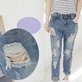 Boyfriend Jeans Women Denim 2017 Casual Holes Mid-Rise Ripped Fashion Capris Jeans Slim Beggar Female Jeans Pencil Pants S   - X