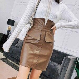 Image 2 - Ih Mulheres Lápis de Cintura Alta Saia De Couro PU 2019 Primavera de Moda de Nova Patchwork Moda Feminina Pacote Hip Fenda Mini Preto saia