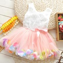 Toddler Colorful Petal Princess Tulle Dress Birthday Party Baby Girl Frock Bow Lace Flower Tutu Dresses Kids Clothes Casual Wear