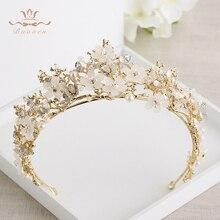 Bavoen Moda Altın Büyük Barok Kelebek Tiara Taç Avrupa Hairbands düğün Saç aksesuarları