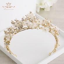Bavoen ヴィンテージ偉大な蝶ブライダルティアラクラウンバロックゴールド花嫁ヘアバンド結婚式のヘアアクセサリーウエディングジュエリーギフト