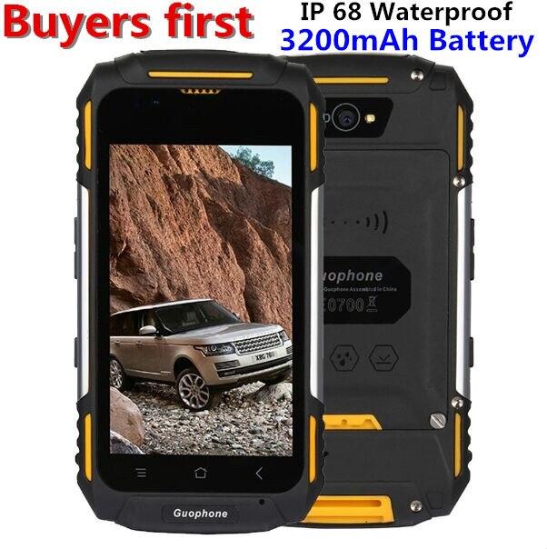 GUOPHONE V88 IP68 Étanche 3200 mAh 4.0 mobile téléphone Android 5.1 GPS MTK6580 Quad Core RAM 1 GB ROM 8 GB 8MP 3G WCDMA Smartphone