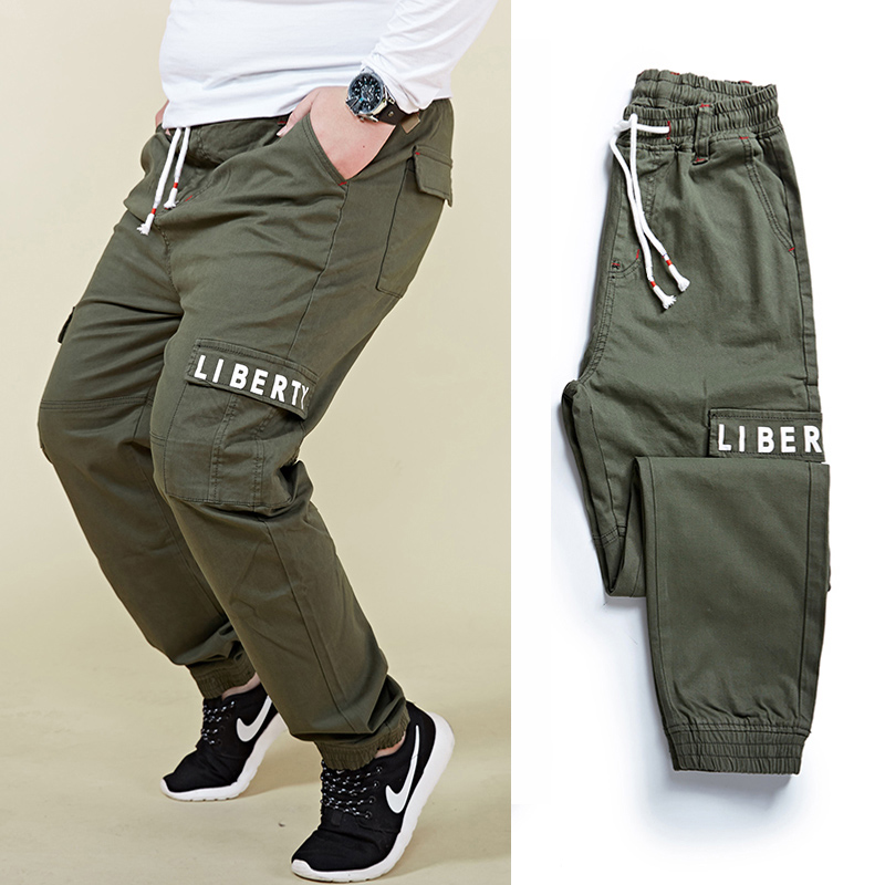 Plus Size 6XL 7XL 8XL Men's Harem Cargo Pants Fashion Letter Print Elastic Waist Big Pocket Beam Foot Casual Pants Male Trousers