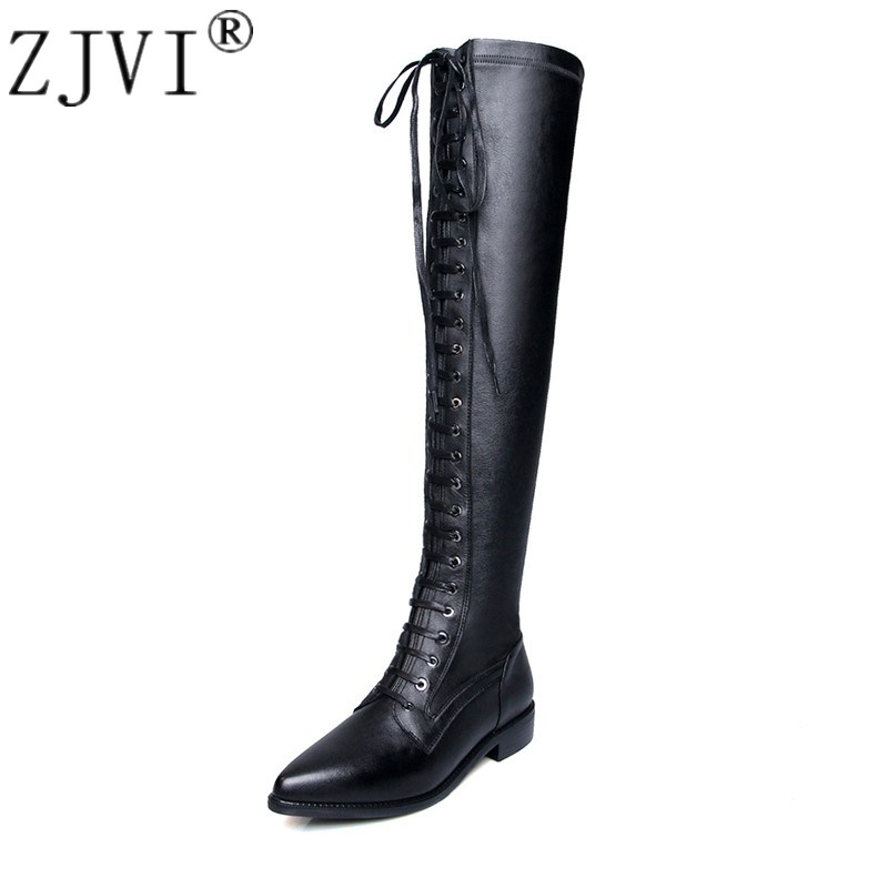 ZJVI women genuine leather thigh high boots 2018 autumn stretch over the knee boots pointed toe cross tied low heels woman shoes women spring autumn lace up over the knee boots pointed cross tied and spike heels long boots solid high heels boots