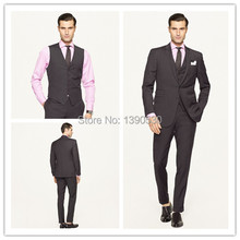 HOT SELLING !!!100% Hand made slim fit black three pieces(jacket+pants+vest) two buttons notch lapel bespoke suits