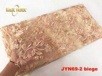 Топ качество бежевый Африканский сетка тюль кружевной ткани с бисером для женщин Свадебная вечеринка одежда jyn69