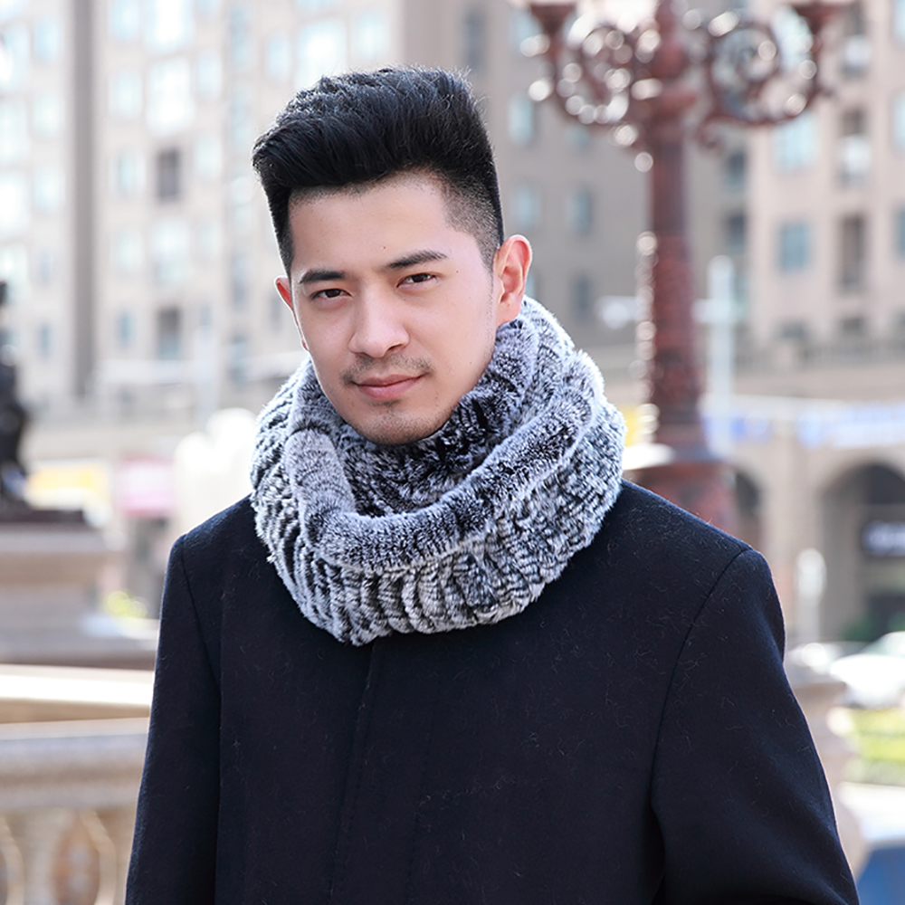 YCFUR Men   Scarves     Wraps   Winter Knit Natural Rex Rabbit Fur Neck   Scarf   Male Elastic Soft Warm O Ring   Scarves   For Men Dad   Scarf