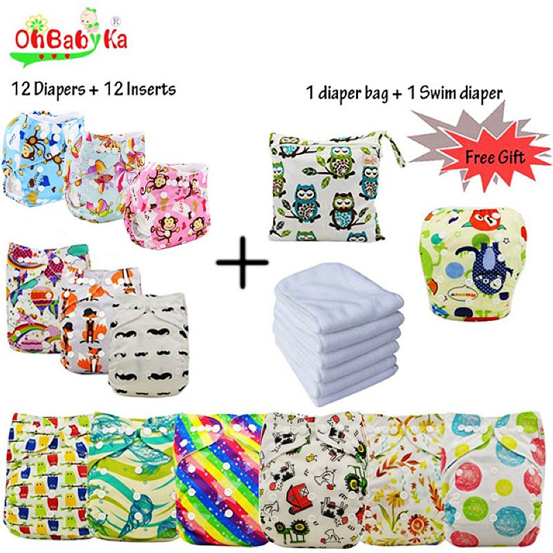 купить Ohbabyka Reusable Diapers Baby Pocket Cloth Diaper Cover Washable Nappy Changing 12pcs+12pcs Microfiber Inserts+1Free Diaper Bag по цене 4366.8 рублей